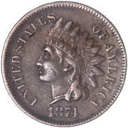 1874 Indian Head Cent Extra Fine Penny Xf See Pics J303