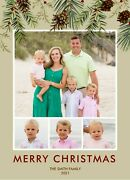 Holiday Christmas Personalized Photo Pinecones Greenery
