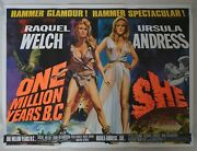 One Million Years Bc / She - Rolled Original Uk Quad Poster Hammer Chantrell Art