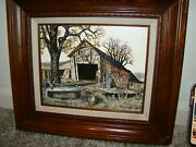 H. Hargrove Barn Painting Picture Framed Signed Serigraph Art Farm Look 8x10