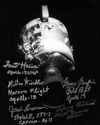 Fred Haise And Apollo 13 Four Flight Directors Signed 10 X 8 Photo Jack Lousma
