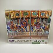 New Sealed Colorluxe 1500 Piece Puzzle Vintage Carousel Horses Ride