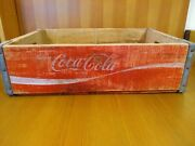 Vintage Enjoy Coca-cola Wood Crate Bottle Carrier White On Red Coke Wooden Tray