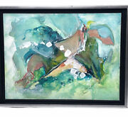 Original Signed Painting Abstract Art Helen Mckeown Turquoise Pastels 8.5 X 12