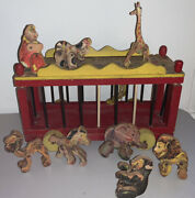 Antique 1930s Fisher Price Circus Parade 250 Woodsy Animals - As Found