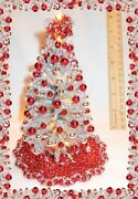 New 112 Ooak 8lighted Silver-red Dollhouse Miniature Christmas Tree Andornaments