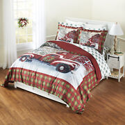 Home For The Holidays Red And Green Plaid Holiday Truck Comforter