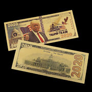 Trump 24k Gold Plated Dollars Antique Plated Commemorative Realistic Banknote Zg