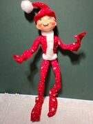 2007 Annalee 14 Red Elf Doll With Snowflakes Christmas Poseable