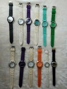 Lot Of 12 Geneva Quartz Fashion Watches With Silicone Rubber Bands - Untested