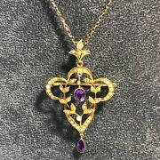 Antique Victorian 9ct Gold Amethyst Seed Pearl Lavaliere Brooch Pendant And Chain