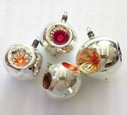 4 Vintage Russian Ussr Glass Christmas Ornaments Xmas Decorations Old Lanterns