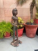 Vintage Old Wooden Hand Carved Painted Tribal Woman Figurine Gangaur Statue 1890