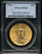 1924 G20 Dollars St.gaudens Double Eagle Pcgs Ms 63 Rive Dand039or Highest-grades