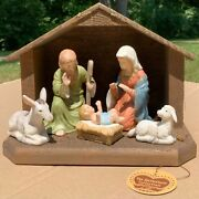 Vintage 1986 Lefton China Nativity Scene 05679 With Wood Stable And Tag