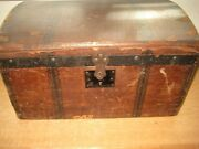 Antique / Small Wooden Steam Trunk / Doll - Salesman Sample / Wooden Dome Lid