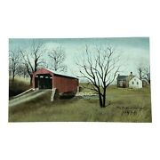 """Billy Jacobs Red Bridge At Pool Forge 10""""x6"""" Farmhouse Wall Picture"""
