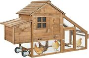 Portable Chicken Coop For 4-6 Chickens Tractor Wheels Movable Mobile Rabbit Cage