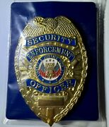 Vintage Style Security Enforcement Officer Badge Gold Tone - Liberty