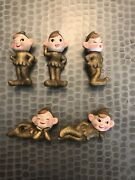 5 Vintage Christmas Gold Glittery Pixies Elves Elf Commodore. Made In Japan