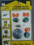 Vintage 1968 Glasglo Brand Cut Stained Glass Jewelled Owl Kit Ready To Assemble