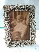 Antique James W Tufts Victorian Silver Plate Picture Frame - Repousse Mermaid