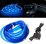 El Wire Blue With 6mm Sewing Edge 16ft/5m Neon Light Usb 5v With Fuse Protectio