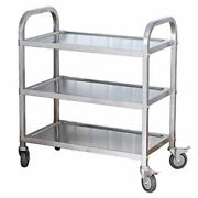 3-tier Stainless Steel Utility Cart With Wheels Kitchen Trolley Cart Island Roll
