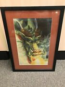 Needlepoint Of Dragon Completed And Custom Framed 850 Hours Of Cross Stitch