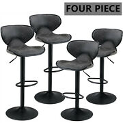 Swivel Bar Chairs Set Of 4 Counter Height Pu Leather Adjustable Bar Stools Gray