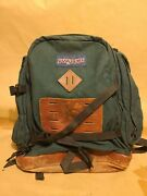 Vintage 90s Jansport Leather Bottom Green Backpack Day Pack Made In Usa Retro