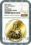 Super Rare Niue Coin 2011 Star Wars Gold Plated 3po Ngc Pf70 Ultra Cameo Pop