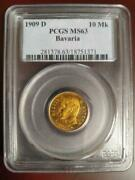 Coin 10 Marc Bavarian Otto Ms63 1909 Germany Gold Pcgs Antique Collection