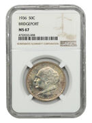 1936 Bridgeport 50c Ngc Ms67 - Silver Classic Commemorative - Lovely Toning