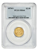 1878-s 2 1/2 Pcgs Ms64 - 2.50 Liberty Gold Coin - Low Mintage Issue