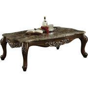 Saltoro Sherpi Wooden Coffee Table With Marble Top In Antique Oak Brown