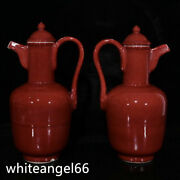 11.2 Chinese Ancient Ming Dynasty Porcelain Xuande Mark A Pair Red Glaze Teapot
