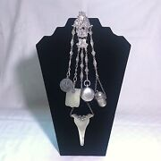 Antique Early 1800s French Cherub Embroidery / Sewing Silver Plate Chatelaine