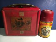 1950's Hopalong Cassidy Metal Red Lunchbox With Original Thermos And Top - Aladdin