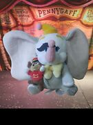Disney Store Original Clown Paint Dumbo And Timothy Mouse Plush Feather 10andrdquo