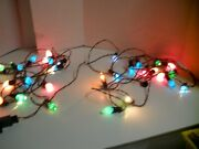 Vintage Christmas Tree Lights C7 2 Sets Red / Green Wire W/clips 15 Lights Works