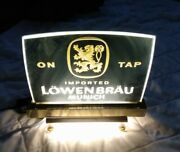 Vintage Lowenbrau Munich Lion On Tap 10 Lighted Glass Beer Sign