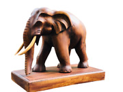 12and039 Carved New Asian Handmade Wooden Elephant Vintage Figurine Wood Statue Asian