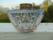 Antique Paneled Glass Peg Font Dated 1876 On Collar For Bandh Hanging Oil Lamps