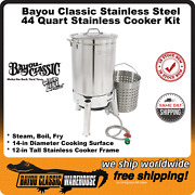 Bayou Classic 44 Quart Stainless Cooker Kit For Boiling Steaming Frying Kds144