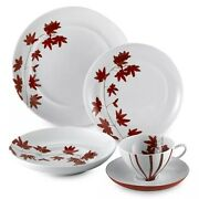 Mikasa Pure Red 5-piece Place Setting Porcelain White Red Japanese Maple Leaves