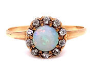 Antique Opal Diamond Cocktail Ring .20ct Vintage Victorian 14k Yellow Gold