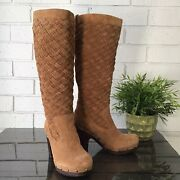 Ugg Chestnut Brown Arroyo Weave Suede Leather Tall Boots Womenand039s Size 7