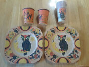 Lot Vintage Halloween Party 2 Paper Plates And 12 Reeds Cups And 2 Other Cups H127