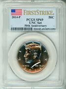 2014 P 50c Kennedy - Anniversary - First Strike Label - Pcgs Sp69 - Nice Coin